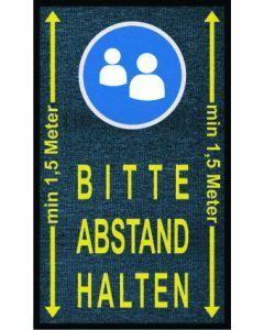 """Schmutzfangmatte mit Warnhinweisen """"Abstand halten"""", """"Hände waschen"""", etc. 90 x 150 cm"""